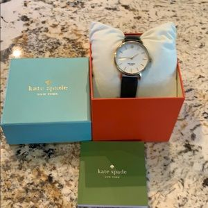 Kate Spade watch black leather band gold trim